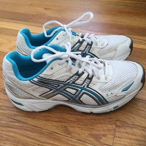 ASICS White & Blue Gel Walking Running Sneaker 7.5